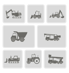 Monochrome icon set with construction machines vector