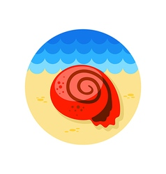 Seashell icon summer vacation vector