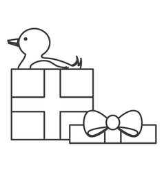 Gift box with duck icon vector