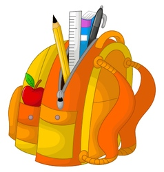 Cute stationary on the bag with apple vector