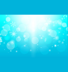 abstract bokeh and snowflakes in blue background vector image