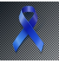 Awareness blue ribbon transparent shadow vector
