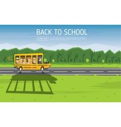 Back to school yellow racing school bus vector
