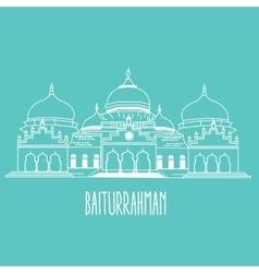 baiturrahman mosque Islam historic building in vector image