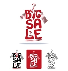 Big Sale lettering on tee shirt shape on hanger vector image vector image