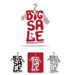 Big sale lettering on tee shirt shape on hanger vector