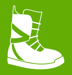 boot for snowboarding icon green vector image vector image