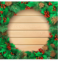 christmas light wooden background with holly vector image
