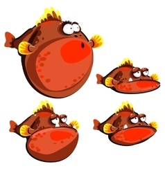 Cute red fish ball four emotions isolated images vector