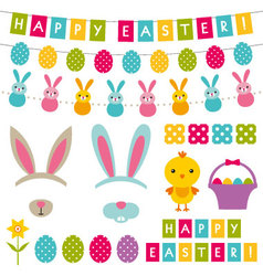 Easter decoration and photo booth props set vector image vector image
