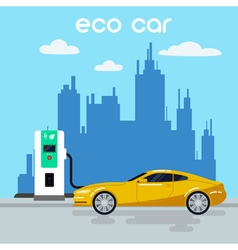 Electric car eco car on charging station vector