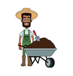Farmer cartoon icon image vector