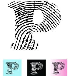 Fingerprint Alphabet Letter P vector image vector image