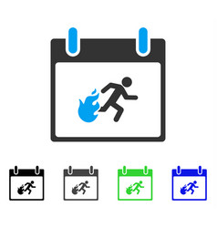 Fire evacuation man calendar day flat icon vector