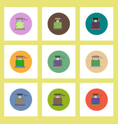Flat icons halloween set of well and ghost concept vector