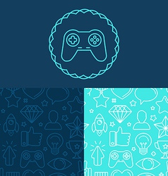 Game badge and seamless patterns vector
