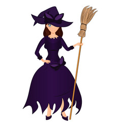 Halloween holiday cute girl witch with a broom vector