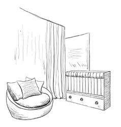 Hand drawn childrens room furniture sketch vector