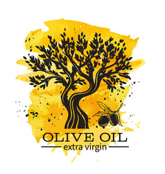 hand drawn olive tree in retro vector image