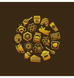 Honey icons in circle vector