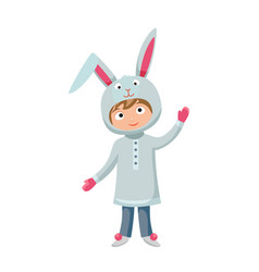 Kid rabbit costume festival superhero character vector
