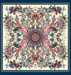 Lovely tablecloth ethnic indian flowers beautiful vector