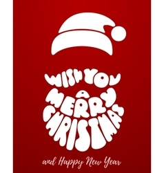 Merry christmas lettering with santa claus beard vector