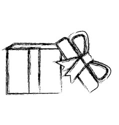 Monochrome blurred silhouette of opened gift box vector