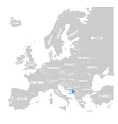 montenegro marked by blue in grey political map of vector image vector image