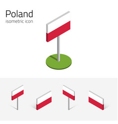 poland flag set of 3d isometric icons vector image