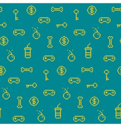 Seamless oldschool gaming inspired pattern game ic vector