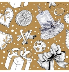 Seasonal hand drawn sketch pattern vector