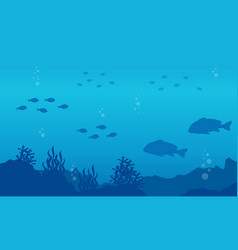 Silhouette of fish on the sea landscape vector