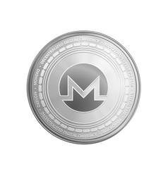 Silver monero coin symbol vector
