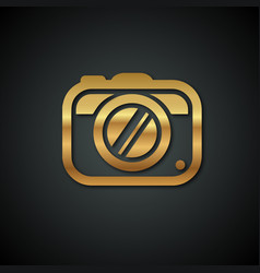 stylish logos with a gold camera on a black vector image