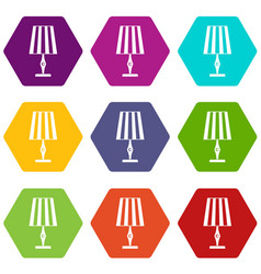 Table lamp icon set color hexahedron vector