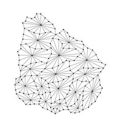 uruguay map of polygonal mosaic lines network ray vector image vector image