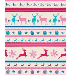 Vintage Christmas reindeers seamless pattern vector image