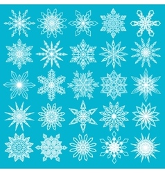White Snowflakes Set on Blue Background vector image vector image