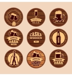 Wooden oak barrel signboards retro circle vector