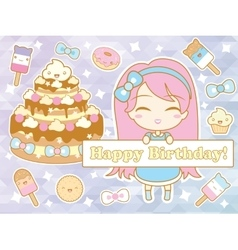 Happy birthday card with cute smiling cartoon vector