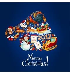 Santa hat made up of holiaday symbols vector image