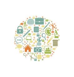 color social tools inside big bubble icon vector image