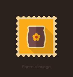 Bag sack flower seed retro flat stamp vector