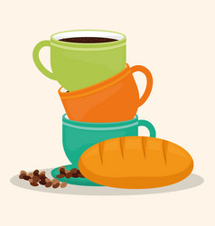 Coffee cup bread dessert bean vector