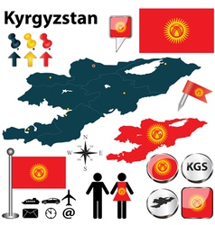 Map of kyrgyzstan vector