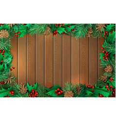 Christmas horizontal wooden background with vector
