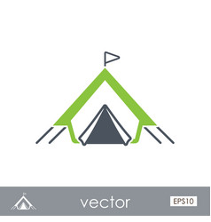 Tent outline icon summer vacation vector
