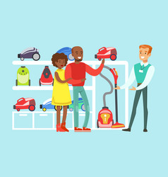 Happy family couple choosing a vacuum cleaner with vector