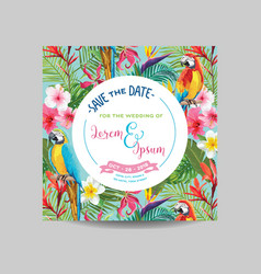 Tropical flowers and parrot wedding invitation vector